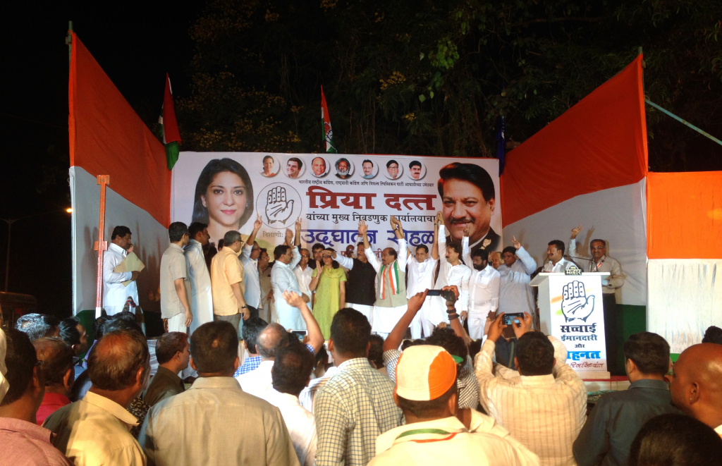 Congress politician Priya Dutt at a rally in Mumbai. Photo: Patrick Ward